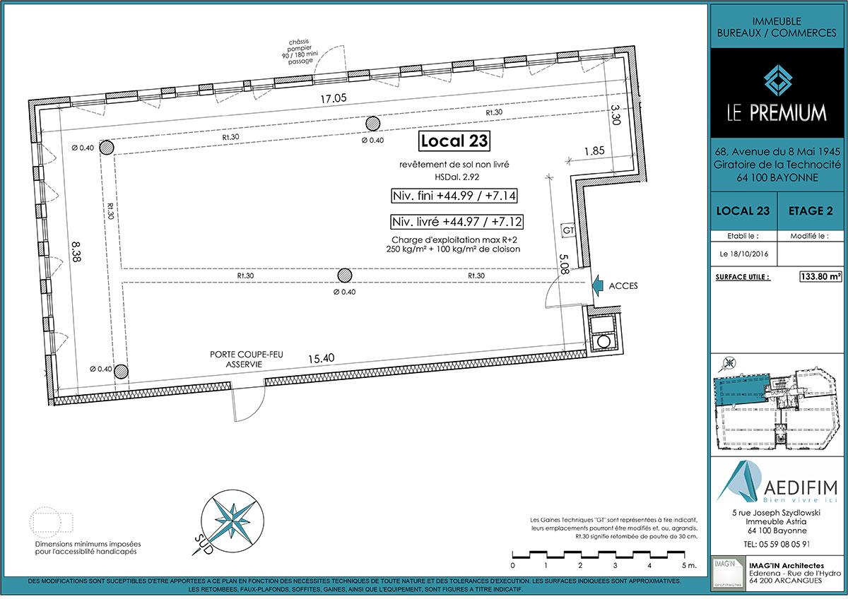 Plan du Premium - local 22 du constructeur immobilier Aedifim