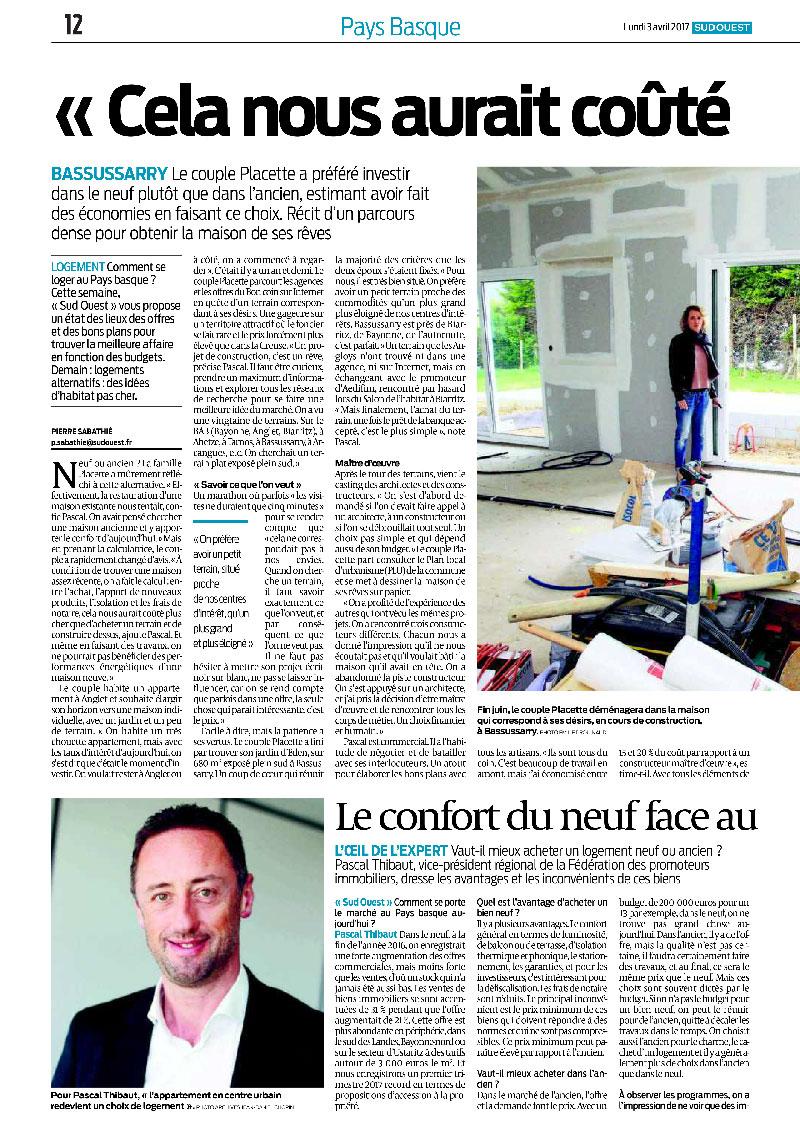Aedifim - revue de presse Sud Ouest - 3/4/2016