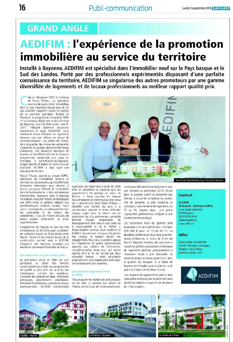 Aedifim - revue de presse Sud Ouest - 12/9/2016