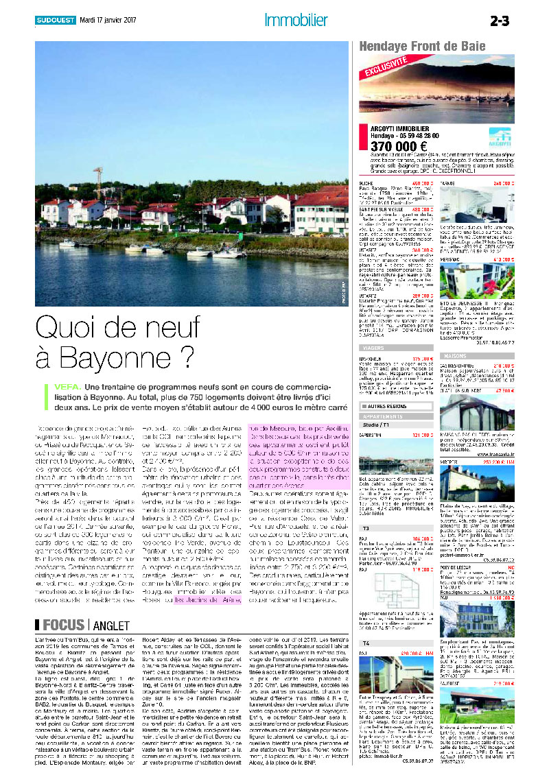 Aedifim - revue de presse Sud Ouest - 17/1/2017