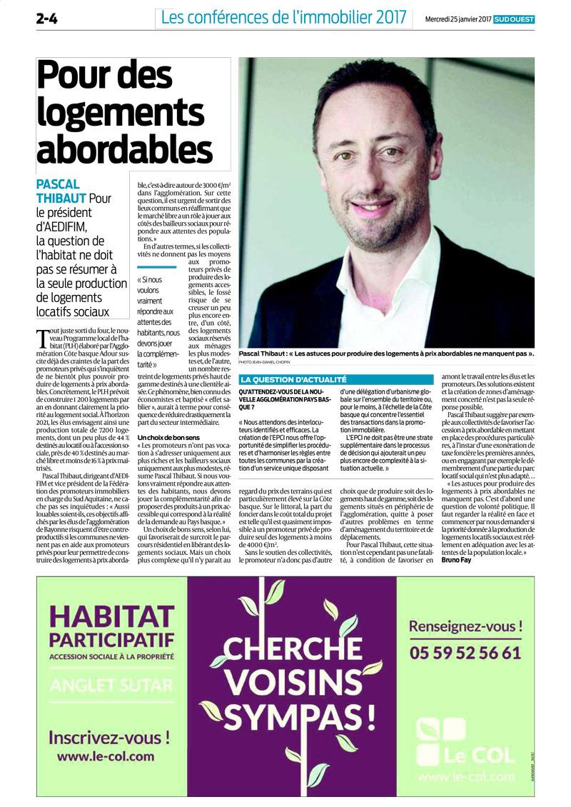 Aedifim - revue de presse Sud Ouest - 25/01/2017