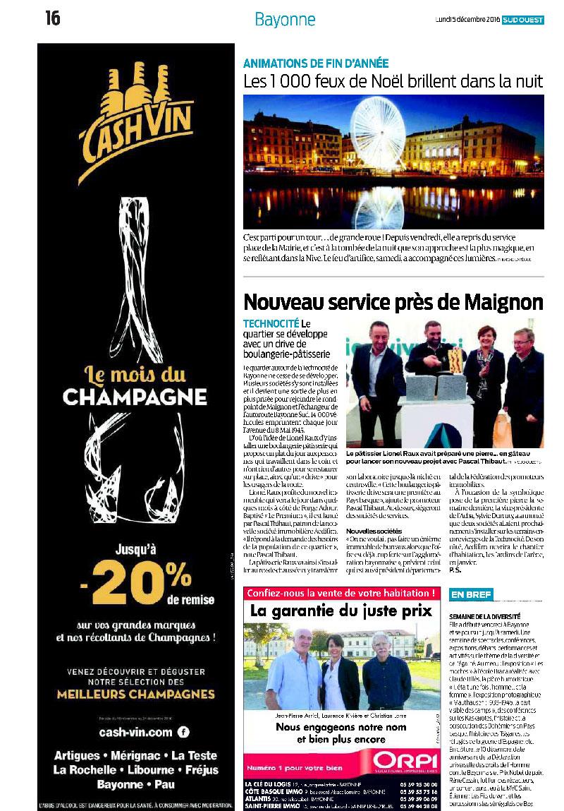 Aedifim - revue de presse Sud Ouest - 5/12/2016